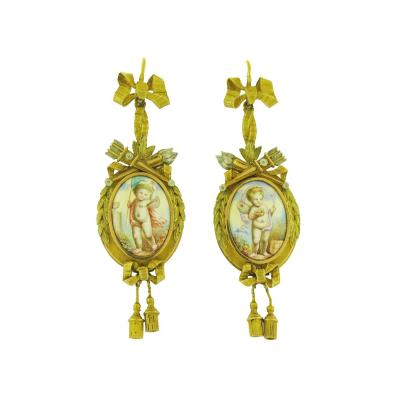 Swiss Enamel Portrait Bow Drop Earrings