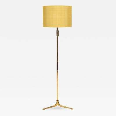 Swiss floor lamp Brass Silk shade 60s
