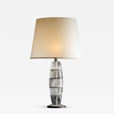 Sylvain Subervie Table lamps in Rock Crystal Column
