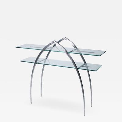 Sylvain Subervie Unique Sylvain Subervie wrought iron and glass console c 2000