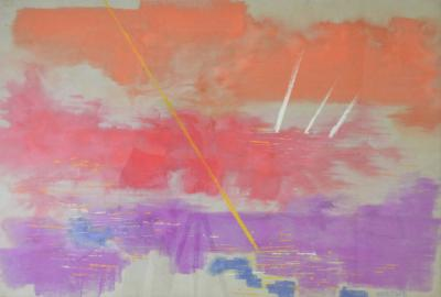 Sylvia Carewe Sylvia Carewe Sunset on Masts Pastel Painting Circa 1970