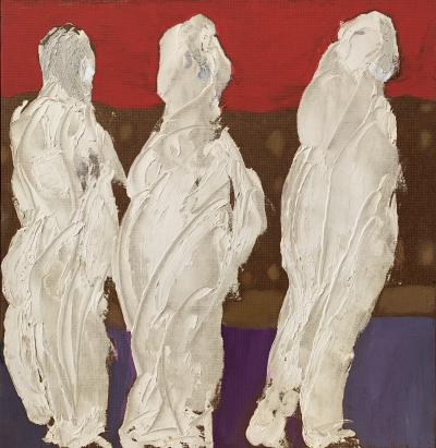 Sylvia Rutkoff 1950s Three Kings Oil Impasto Figurative Painting NYC Brooklyn Museum Artist