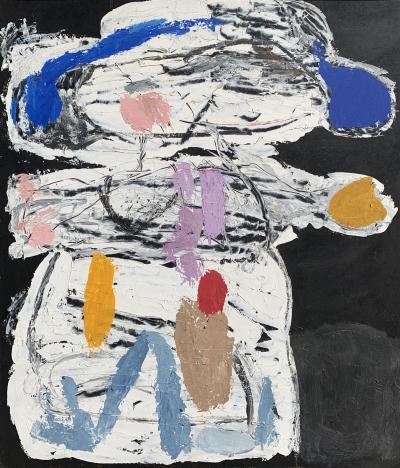Sylvia Rutkoff Boy With Mittens Oil Impasto Mid Century Art Brut Painting NYC Female Artist