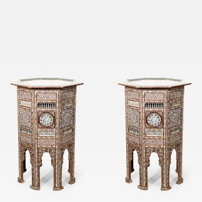 Syrian Antique Mother of Pearl Inlay Pedestal Tables