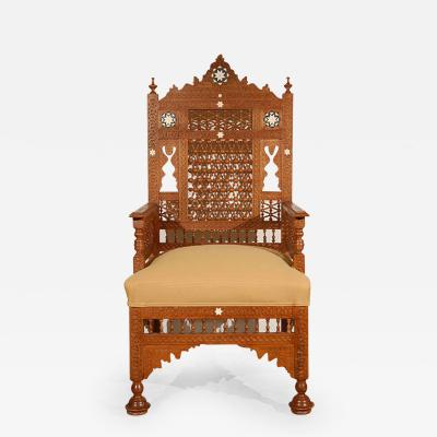 Syrian Moorish Royal Throne Armchairs