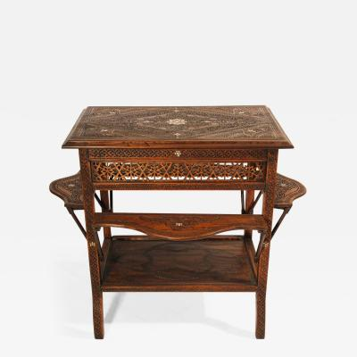 Syrian Moorish Tea Table Inlaid with Mother of Pearl 19th Century