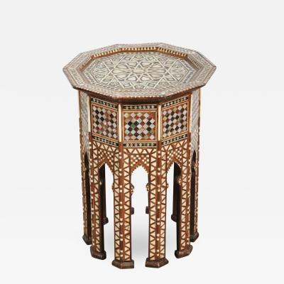 Syrian Octagonal Side Table Mother of Pearl Inlay