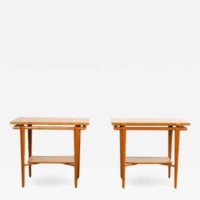 T H Robsjohn Gibbings A pair of Mid Century Modern side tables by T H Robsjohn Gibbings for Widdicomb
