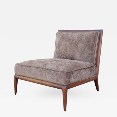 T H Robsjohn Gibbings Brown Chenille Slipper Chair by Robsjohn Gibbings