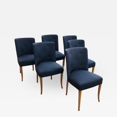 T H Robsjohn Gibbings Custom Set of Six Dining Chairs by Robsjohn Gibbings