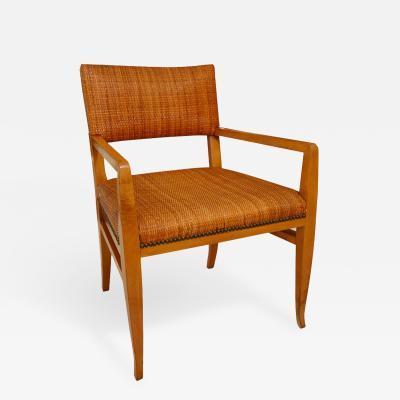 T H Robsjohn Gibbings Elegant Walnut Armchair in Original Cane and Nailhead Detail