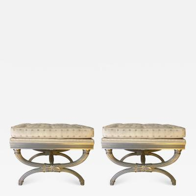 T H Robsjohn Gibbings NEOCLASSICAL SILVERED WOODEN STOOLS IN THE STYLE OF T H ROBSJOHN GIBBINGS