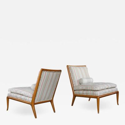 T H Robsjohn Gibbings Pair T H Robsjohn Gibbings for Widdicomb Mid Century Walnut Slipper Chairs
