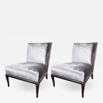 T H Robsjohn Gibbings Pair of Ebonized Walnut Slipper Chairs by Robsjohn Gibbings for Widdicomb Co