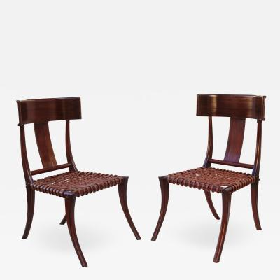T H Robsjohn Gibbings Pair of Klismos Accent Side Chairs In The Manner of T H Robsjohn Gibbings