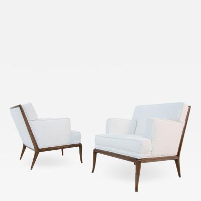 T H Robsjohn Gibbings Pair of Lounge Chairs by T H Robsjohn Gibbings in white boucl 1950s