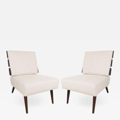 T H Robsjohn Gibbings Pair of Slat Back Lounge Chairs in the manner of T H Robsjohn Gibbings