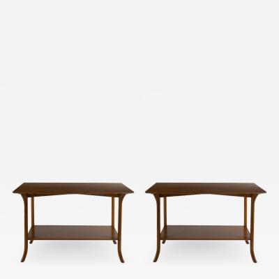 T H Robsjohn Gibbings Pair of T H Robsjohn Gibbings Wood Side Tables