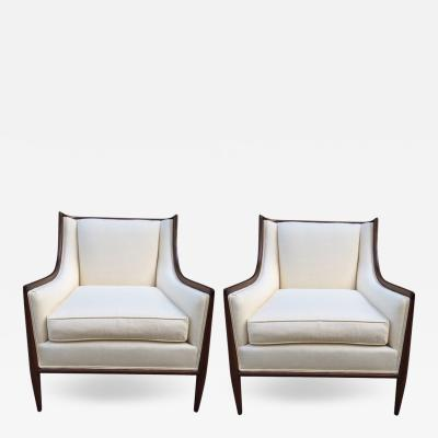 T H Robsjohn Gibbings Pair of Walnut and Linen Upholstered Lounge Chairs