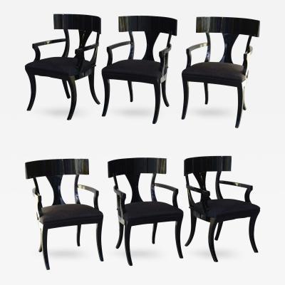 T H Robsjohn Gibbings Set of Six Black Lacquer Klismos Armchairs Manner of Robsjohn Gibbings