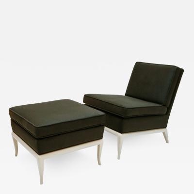 T H Robsjohn Gibbings Slipper Chair and Ottoman by T H Robsjohn Gibbings