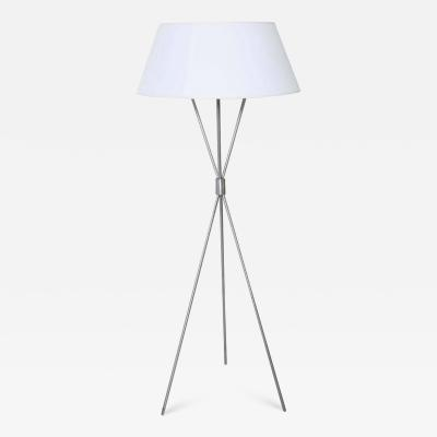 T H Robsjohn Gibbings T H Robsjohn Gibbings Brushed Nickel Tripod Floor Lamp with Parchment Shade