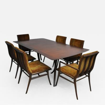T H Robsjohn Gibbings T H Robsjohn Gibbings Dining Set Table with Six Chairs