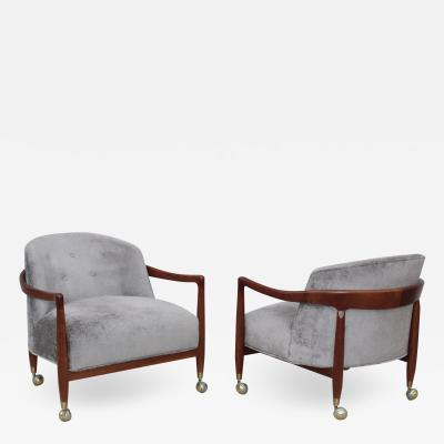 T H Robsjohn Gibbings T H Robsjohn Gibbings For Widdicomb Walnut Armchairs