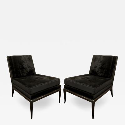 T H Robsjohn Gibbings T H Robsjohn Gibbings Pair of Iconic Slipper Chairs in Black Velvet 1950s