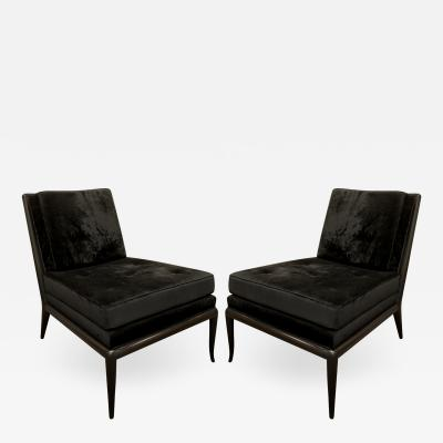 T H Robsjohn Gibbings T H Robsjohn Gibbings Pair of Iconic Slipper Chairs in Black Velvet 1950s