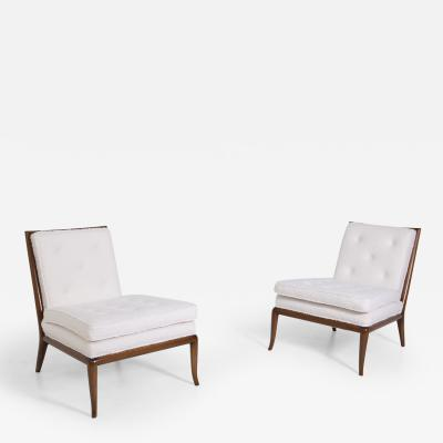 T H Robsjohn Gibbings T H Robsjohn Gibbings Pair of Lounge Chairs in White Boucl