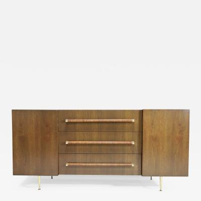 T H Robsjohn Gibbings T H Robsjohn Gibbings Rare Sideboard or Cabinet in Walnut Rattan and Brass
