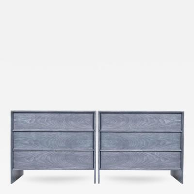 T H Robsjohn Gibbings T H Robsjohn Gibbings Thin Line Bedside Tables in Grey Ceruse
