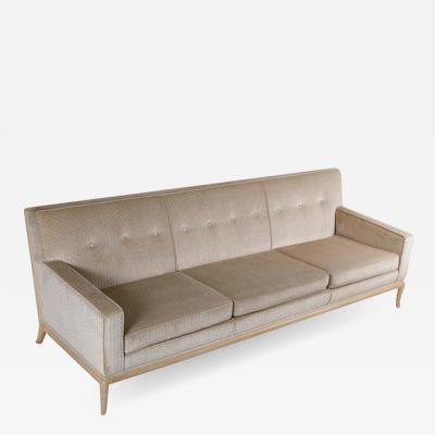 T H Robsjohn Gibbings T H Robsjohn Gibbings Three Seat Sofa Custom Bleached Walnut Frame Widdicomb