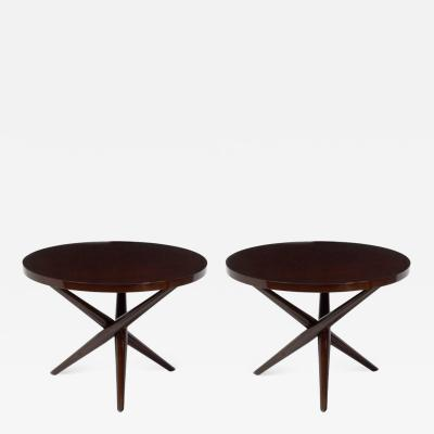 T H Robsjohn Gibbings T H Robsjohn Gibbings Tripod Base Side Tables a Pair