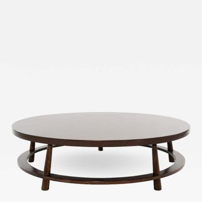 T H Robsjohn Gibbings T H Robsjohn Gibbings for Widdicomb Round Walnut Cocktail Table 1951