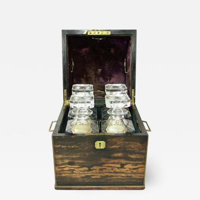 T K Austin Co 19th Century Irish Coromandel Wood Campaign Decanter Box with Crystal Decanters
