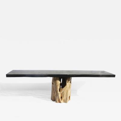 TABLE RACINE BLANCHE BLACK TOP