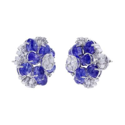 TANZANITE FLORAL EARRINGS WITH MIXED CUT DIAMONDS