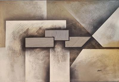 TEXTURED GEOMETRIC ABSTRACT OIL ON CANVAS SIGNED MARX