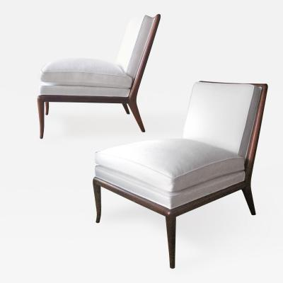 TH Robsjohn Gibbings Pair of Linen Upholstered Slipper Chairs