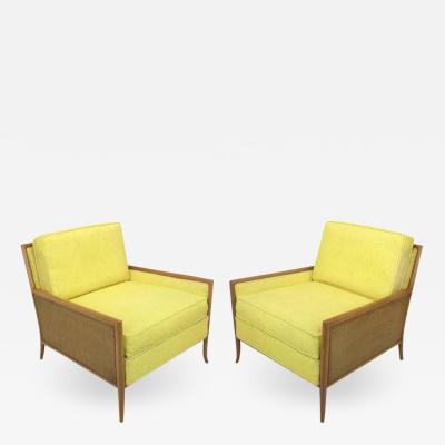 TH Robsjohn Gibbings Pair of Walnut Yellow Haitian Cotton Lounge Chairs after TH Robsjohn Gibbings