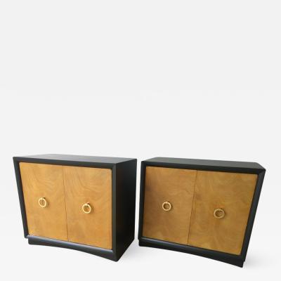 TH Robsjohn Gibbings Pr Mid Century Modern Burl Maple Lacquered Maple w Brass Ring Cabinets