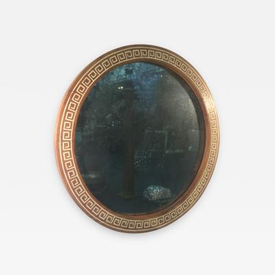 TH Robsjohn Gibbings ROUND INLAID GREEK KEY MIRROR ATTRIBUTTED TO THEODORE ROBSJOHN GIBBINGS