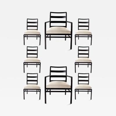 TH Robsjohn Gibbings Set of Eight T H Robsjohn Gibbings Walnut Ladder Back Chairs