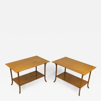 TH Robsjohn Gibbings T H Robsjohn Gibbings Bleached Mahogany Sabre Leg Side Tables for Widdicomb