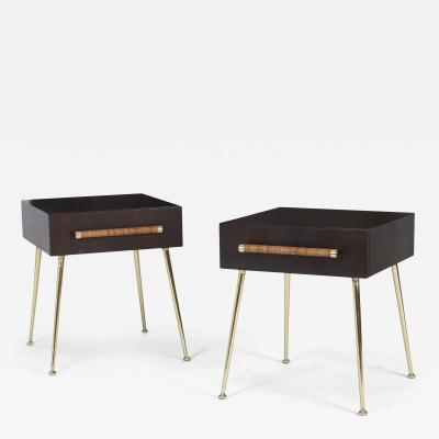 TH Robsjohn Gibbings T H Robsjohn Gibbings Night Stands on Brass Legs