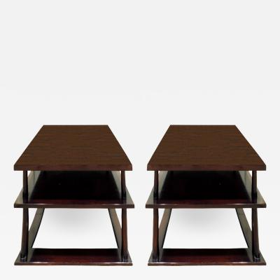 TH Robsjohn Gibbings T H Robsjohn Gibbings Pair of End Tables in Walnut 1950s