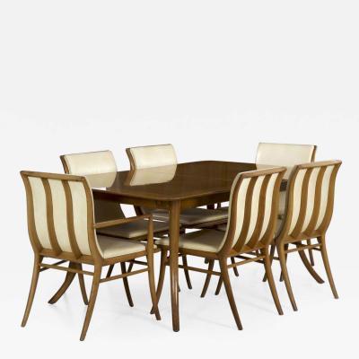 TH Robsjohn Gibbings T H Robsjohn Gibbings for Widdicomb Dining Table and Six Chairs