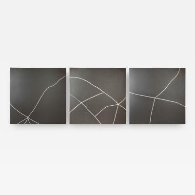 TJ Volonis Kintsugi Study Triptych Ceramic Panels Repaired with Silver by TJ Volonis